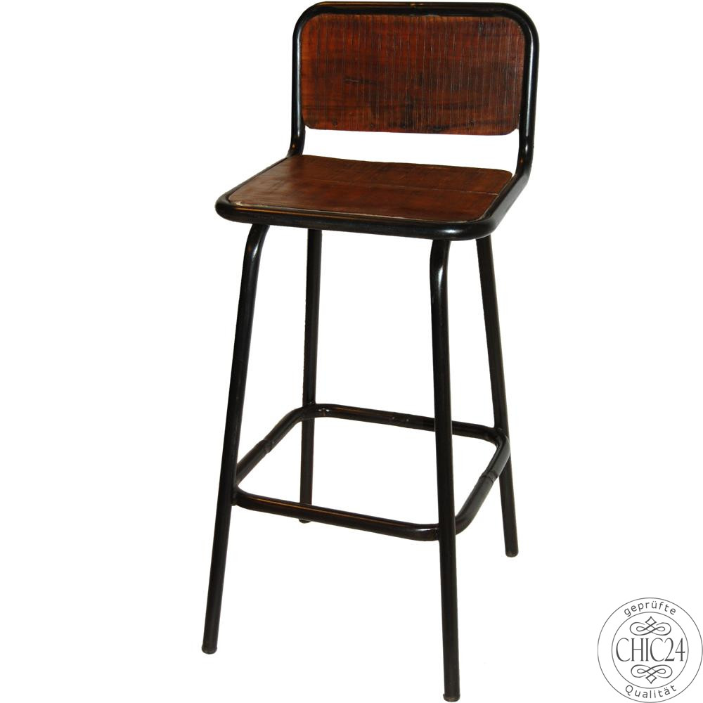 Rustikaler barhocker mit lehne chic24 vintage m bel for Barhocker industriedesign