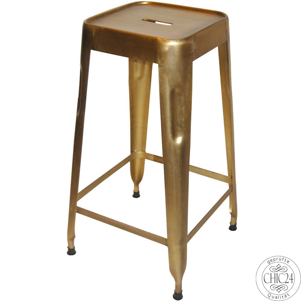 Barhocker metall gold chic24 vintage m bel und for Barhocker metall