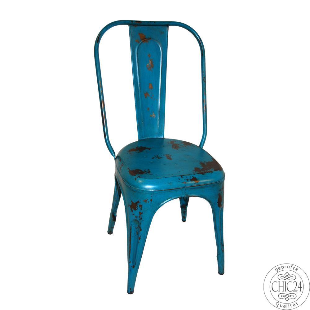 Stuhl im industriedesign im vintage stil petrol blau for Stuhl industriedesign