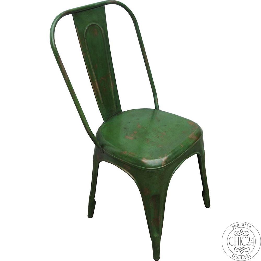 stuhl im fabrikdesign und im vintage stil gr n lackiert. Black Bedroom Furniture Sets. Home Design Ideas
