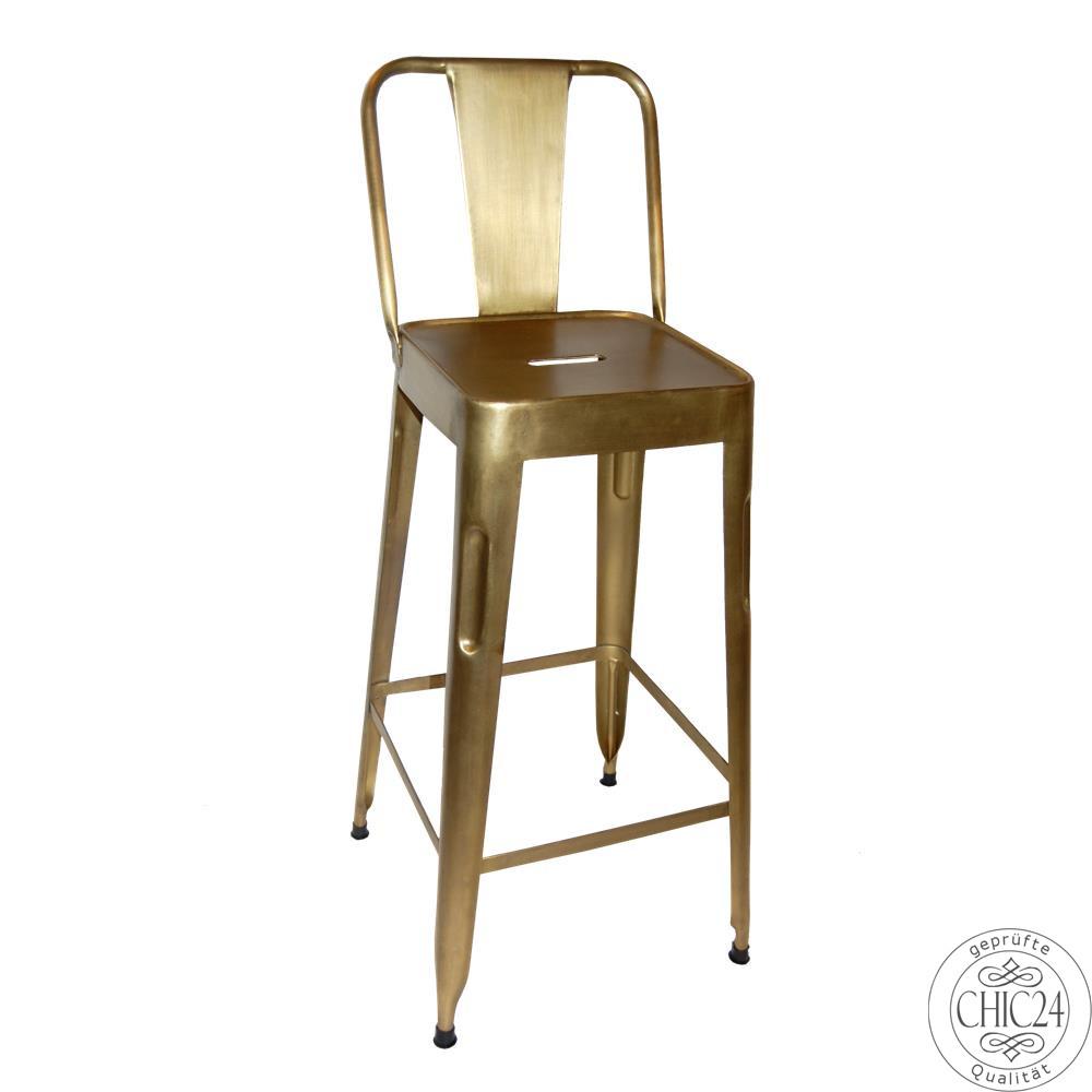 barhocker mit r ckenlehne metall gold chic24 vintage. Black Bedroom Furniture Sets. Home Design Ideas