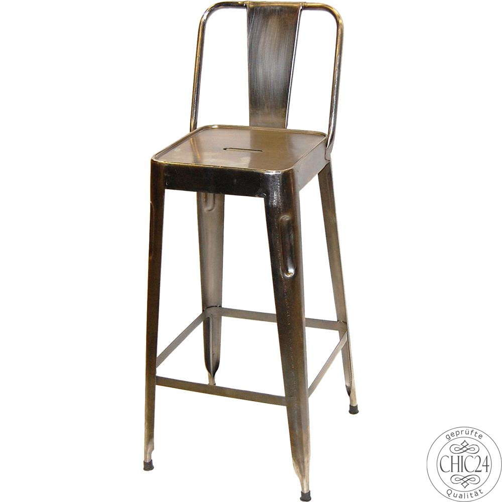 Barhocker mit Rückenlehne Metall glänzend - chic24 - Vintage Möbel und Industriedesign Lampen ...