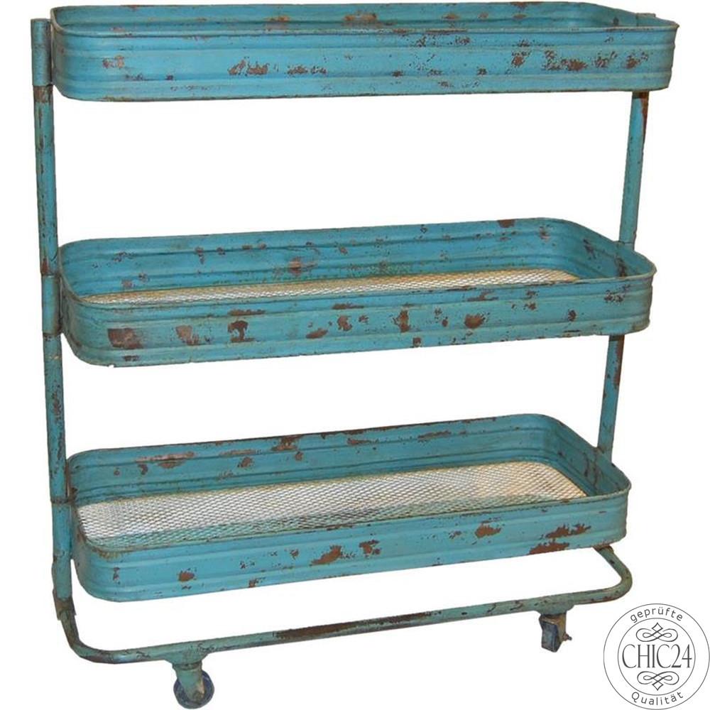 rollwagen trolley mit 3 ebenen vintage antikblau chic24 vintage m bel und industriedesign. Black Bedroom Furniture Sets. Home Design Ideas