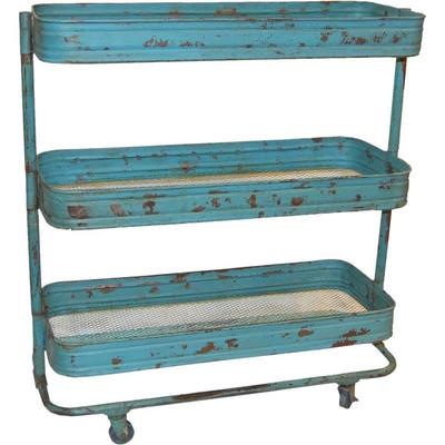 Rollwagen Trolley mit 3 Ebenen Vintage Antikblau - chic24 ...