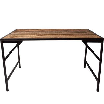Antiker Tisch Mit Holzplatte Und Eisengestell Dunkelblau Chic24