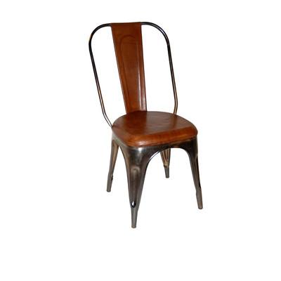 metallstuhl mit braunem leder gestell gl nzend chic24 vintage m bel und industriedesign. Black Bedroom Furniture Sets. Home Design Ideas