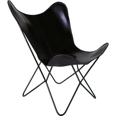 Nordal Butterfly Sessel Leder schwarz - chic24 - Vintage Möbel und ...